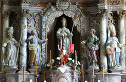 Altare principale in chiesa di San Martino in Pisarovinska Jamnica, Croazia Fotografia Stock Libera da Diritti