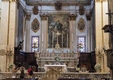 Altare principale della cattedrale del duomo, Lecce, Italia Fotografia Stock
