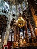 Altare principale della cattedrale di Narbona Fotografie Stock