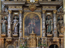 Altare principale nella chiesa della st Catherine di Alessandria d'Egitto in Krapina, Croazia Fotografia Stock Libera da Diritti
