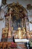 Altare principale nella chiesa di Barmherzigenkirche a Graz Fotografie Stock