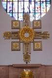 Altare principale nella chiesa di Saint Lawrence in Kleinostheim, Germania Fotografie Stock Libere da Diritti