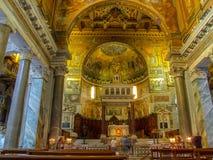 Altare in Santa Maria in Trastevere a Roma in Italia Fotografia Stock