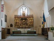 Altare scolpito in chiesa dello Spirito Santo Tallinn Fotografia Stock Libera da Diritti
