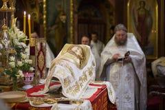 Altaret av den ortodoxa kyrkan Royaltyfri Fotografi