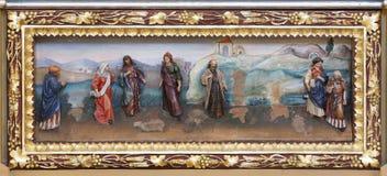 Altarpiece на алтаре Святого Антония большой в церков St Matthew в Stitar, Хорватии стоковые фотографии rf