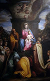 Adoration of the Magi. Altarpiece depicting Adoration of the Magi, work by Federico Zuccari in Cathedral of St.Martin in Lucca, Italy Royalty Free Stock Image
