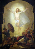 Resurrection of Christ. Altarpiece depicting Resurrection of Christ, work by Michele Ridolfi in Cathedral of St.Martin in Lucca, Italy Stock Photos