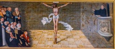 Altarpiece Mary& x27 Мартина Luther Христоса; церковь Stadtkirche l города s стоковая фотография rf