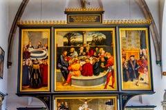 Altarpiece Mary& x27 тайной вечери; церковь Stadtkirche Lutherstad города s стоковое изображение