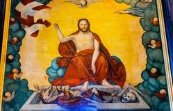 Altarpiece St Mary & x27 Христоса; церковь Stadtkirche Luthersta города s стоковые изображения