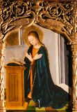 Altarpiece of St Nicolas in Monaco Cathedral - Mother Mary Praying stock photography