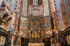 The altarpiece of Veit Stoss in St. Mary's Basilica, Cracow, Poland. Stock Photo