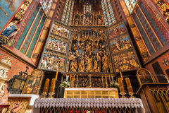 Altarpiece Veit Stoss (St. Marys Altar) - Cracow (Krakow)-Poland. Famous altarpiece Veit Stoss - Cracow (Krakow)-Poland- Saint Mary´s Basilica-Mariacki Church stock photo
