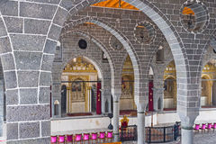 The Altars of Armenian Church. DIYARBAKIR, TURKEY - JANUARY 15, 2015: The interior of the St Giragos Armenian Church made of black basalt and has seven altars Royalty Free Stock Photography