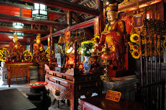 Altars to Confucius and his disciples. Students usually go to temple of Literature (Van Mieu) to wish a lucky thing in their studies Royalty Free Stock Images