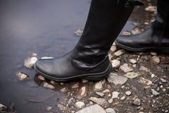 Altas botas de cuero Fotos de archivo