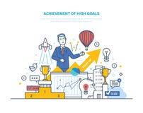 Altas metas del logro Crecimiento financiero y de la carrera, éxito en negocio stock de ilustración
