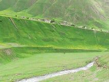 Altas montañas de Georgia con verdor, rastros imagenes de archivo