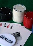 Altas virutas de póker del as Foto de archivo libre de regalías