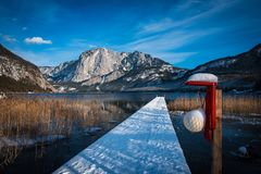 Altaussee and the mountains around the lake. Wonderful lake in Altaussee witth the mountains in the background Royalty Free Stock Photography