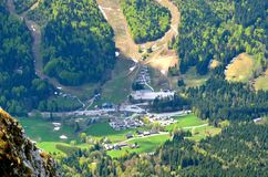 Altaussee Village in Austrian mountains. Stock Photo