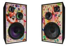 Altavoces coloreados de la vendimia, sucios Foto de archivo libre de regalías
