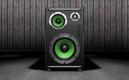 Altavoces de audio en fondo negro representación 3d Fotografía de archivo libre de regalías