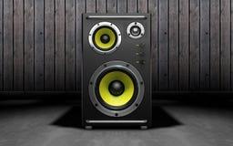 Altavoces de audio en fondo negro representación 3d Fotos de archivo