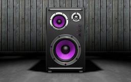 Altavoces de audio en fondo negro representación 3d Imagen de archivo