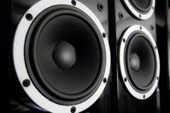Altavoces de audio negros Imagen de archivo libre de regalías