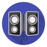 Altavoces de la música de ordenador En fondo azul, estilo plano, con resplandor y sombra stock de ilustración