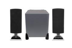 Altavoces del ordenador con el altavoz para bajas audiofrecuencias Fotos de archivo libres de regalías
