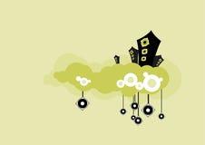 Altavoces en nube verde. Arte del vector Imagenes de archivo