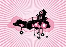 Altavoces flotantes negros en fondo rosado. Arte del vector Imágenes de archivo libres de regalías