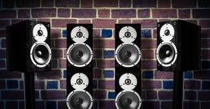 Altavoces negros de la música Foto de archivo