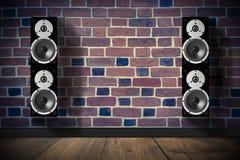 Altavoces negros de la música Imagen de archivo