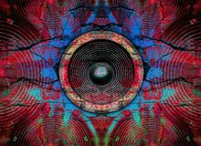 Altavoces rojos de la música en una pared agrietada Fotos de archivo