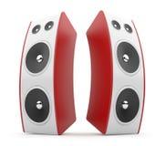 Altavoz audio rojo. Sistema acústico 3D. en blanco Fotografía de archivo