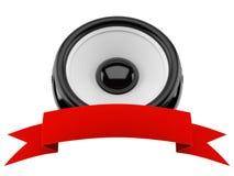 Altavoz de audio con la cinta roja en blanco stock de ilustración