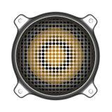 altavoz del metal 3d con las herramientas de DJ del disc jockey del sistema de sonido de la parrilla Imágenes de archivo libres de regalías