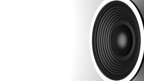 Altavoz negro de la música en el fondo blanco, espacio de la copia ilustración 3D Foto de archivo