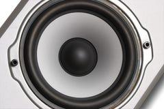 Altavoz para bajas audiofrecuencias del altavoz de plata Imágenes de archivo libres de regalías