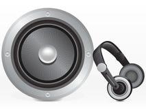 Altavoz y auriculares Imágenes de archivo libres de regalías