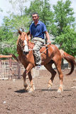 Altay man on a horse Stock Photography