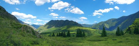 Altay mountains. Panoramic photo, Russia Royalty Free Stock Images