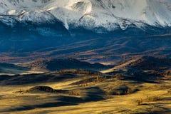 Altay. Mountains. Golden autumn. Blue sky. Stock Photography