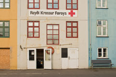 Altbau in Färöern ernstlich stockbild
