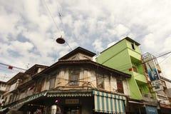 Altbau Geschoß des Dorfbewohners zwei in Nakorn Kasem, Bangkok, Thail Lizenzfreies Stockbild