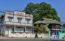 Altbau in Pyin Oo Lwin, Myanmar stockfotos